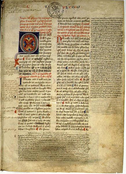 Manuscrit latin Physique Aristote